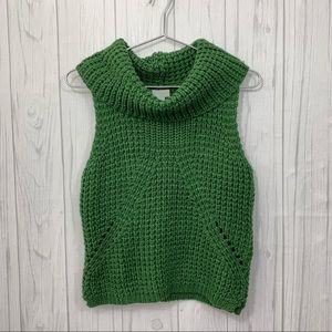 BELLE SKY GREEN KNIT CHUNKY NECK SWEATER MEDIUM